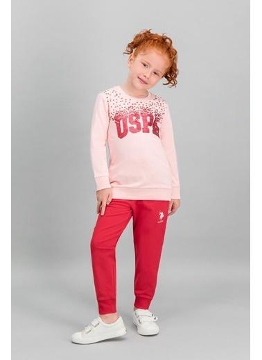 U.S. Polo Assn. Lisanslı Kız Çocuk Payetli Eşofman Takımı Pembe